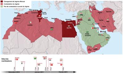 Carte De Lafrique Et Moyen Orient.Revoltes Et Revolutions En Afrique Du Nord Et Au Moyen Orient